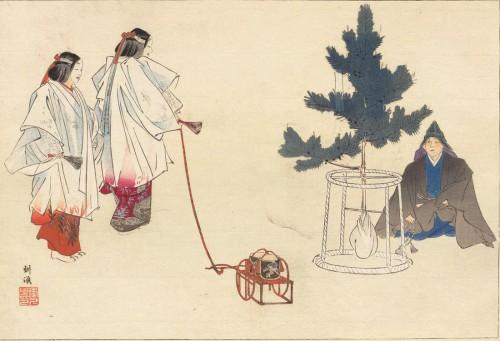 『能楽図絵』(前編上・耕漁画)に描かれた「松風」。国立国会図書館蔵。