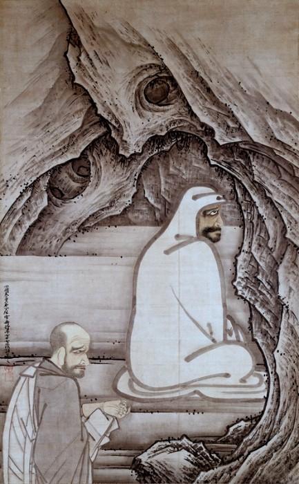雪舟筆「慧可断臂図」。畳1畳ほどの大きさで、見る者を圧倒する。雪舟晩年の明応5年(1496)作。室町時代、愛知・齊年寺蔵
