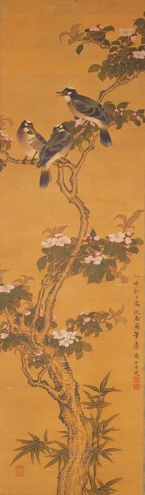海棠白頭翁図 黒川亀玉筆 一幅 宝暦5年(1755) 千葉市美術館 【展示期間:12月14日~1月9日】