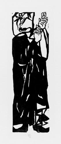 棟方志功《二菩薩釈迦十大出子》「優婆離の柵」〔昭和14(1939)年 棟方志功記念館蔵〕