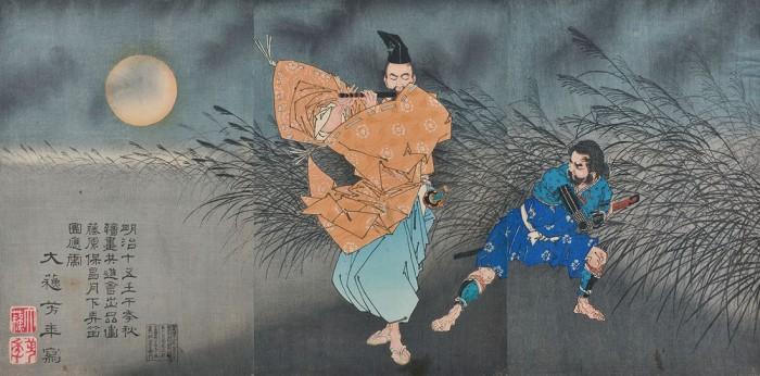「藤原保昌月下弄笛図」明治16年(1883)