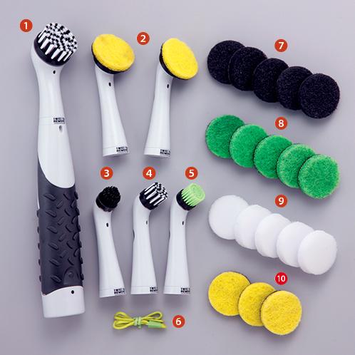 本体のほかに、掃除をする場所と汚れに合わせて使い分けできる「替えパッド」と「替えブラシ」が多数付属する。隅や磨きにくい場所にもきちんと届いて使いやすく、洗剤も使用できる。 セット内容の詳細は以下。