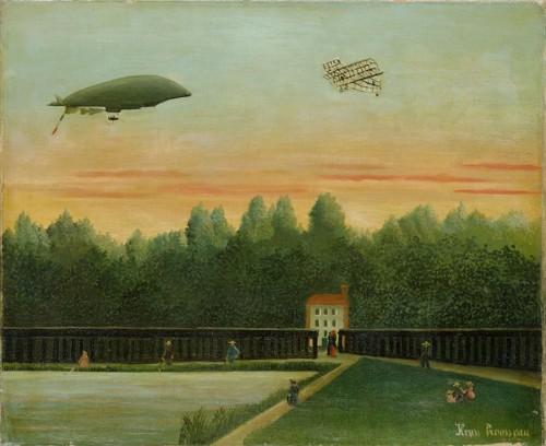 アンリ・ルソー 《飛行船「レピュブリック号」とライト飛行機のある風景》 1909年 油彩/カンヴァス ポーラ美術館蔵