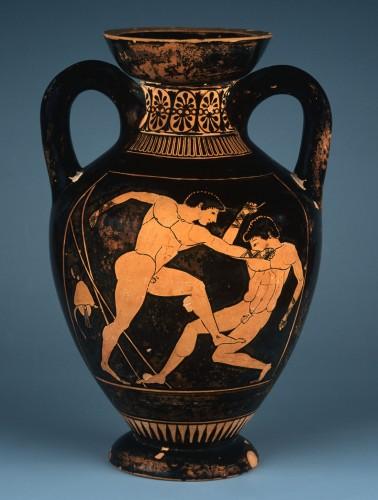 「赤像式パナテナイア小型アンフォラ ボクシング」〔前500年頃 アテネ国立考古学博物館蔵〕(C)The Hellnic Ministry of Culture and Sports‐Archaeological Receipts Fund