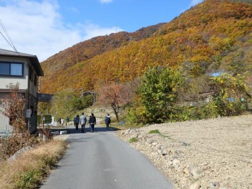 紅葉を楽しみながら歩く。