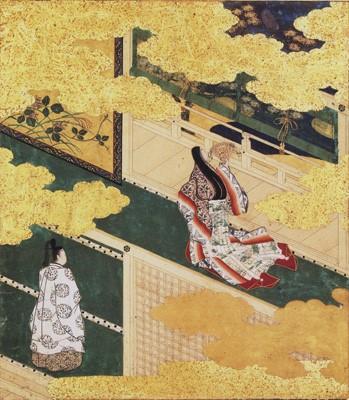 土佐光吉「源氏物語画帖(花宴)」〔重要文化財 1613年頃 京都国立博物館蔵〕