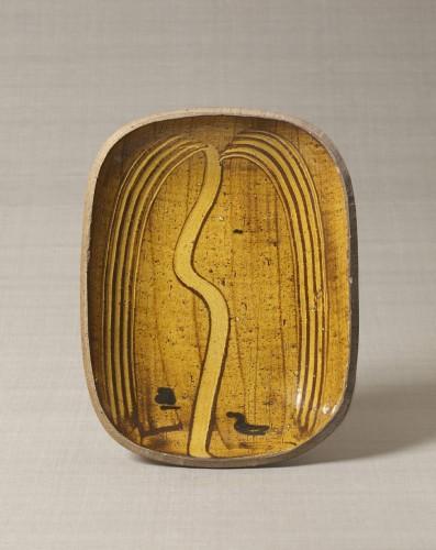 「ガレナ釉櫛描柳文楕円皿」 バーナード・リーチ 1952年 日本民藝館蔵