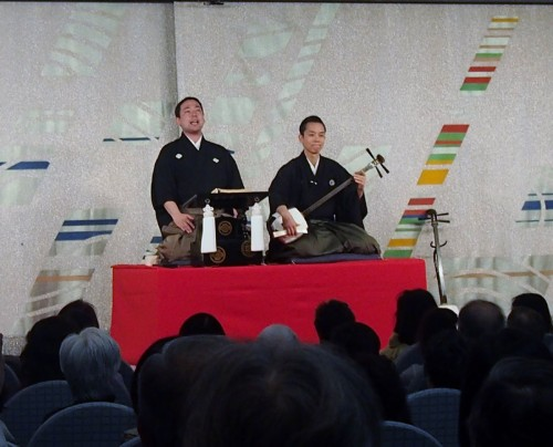 竹本小住太夫さん、鶴澤清丈さんによる太夫・三味線講座。