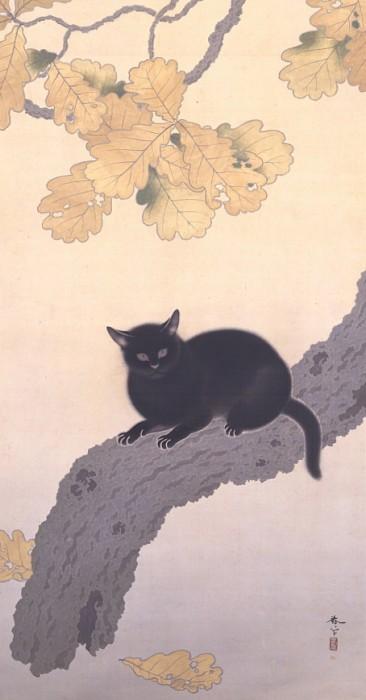 菱田春草《黒き猫》(部分)〔明治43年(1910)永青文庫蔵〕