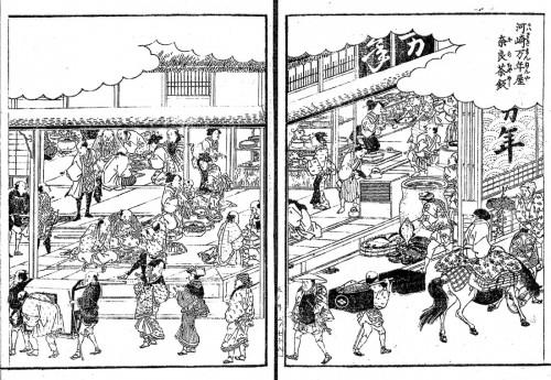 ちなみに『鬼平犯科帳』でお馴染みの外食シーンの実態はこんな感じ。テーブルはなく、皿を座敷に置いたまま胡坐を掻いて食事しました。こんな風に史実と時代小説の世界にはこういったギャップがかなりあるんです。江戸名所図会 河崎万年屋奈良茶飯 国立国会図書館所蔵