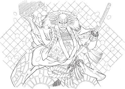 「碁盤忠信」の白絵。