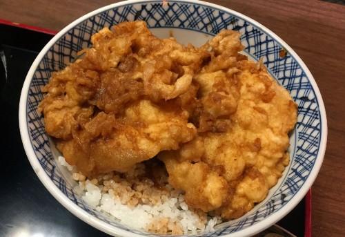 『翁庵』の「イカ丼」。野菜っけとは無縁の見た目だが、ネギがしっかり入って、イカを引き立てている。