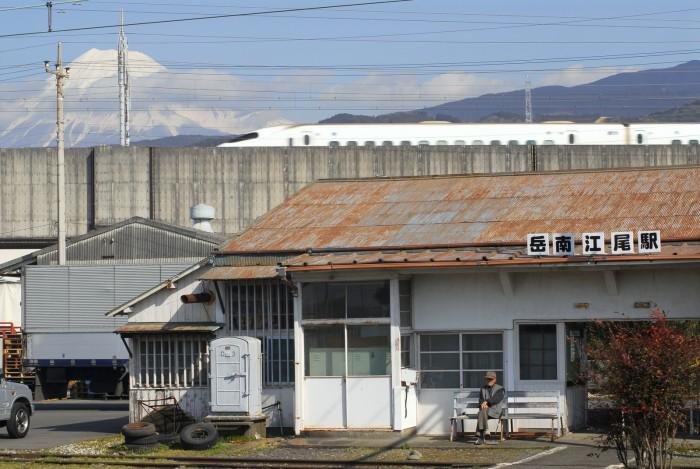 老人と富士と新幹線。