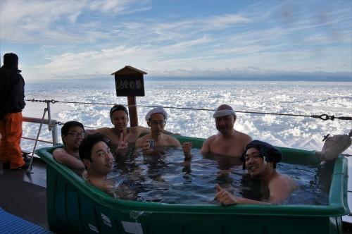 氷山を眺めながらの露天風呂。