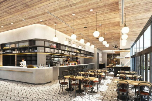 15階のスカイストリートに直結した明るい空間のレストラン「THE GATEHOUSE」。窓からは名古屋の街が一面に広がります。