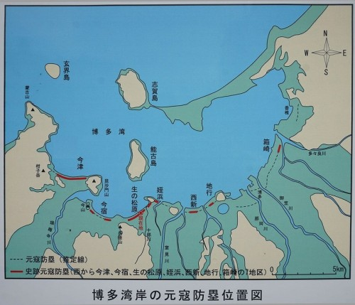 博多湾岸の元寇防塁位置図 。