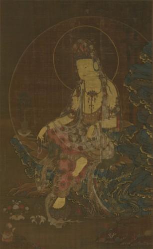 重要文化財 水月観音像 徐九方筆 1幅 絹本着色 朝鮮・高麗時代 1323年(至治3年・忠粛王10年) 泉屋博古館蔵