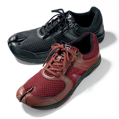 写真上=ブラック・シルバー/下=ワインレッド 爪先にかかる負担を軽減、地面をしっかりと捉えることができる。サイドファスナーが付くので、靴ひもを締めたままでも脱ぎ履きしやすい。