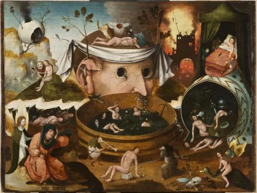 ヒエロニムス・ボス工房《トゥヌグダルスの幻視》〔1490-1500年頃 油彩・板 ラサロ・ガルディアーノ財団蔵〕(C)Fundación Lázaro Galdiano