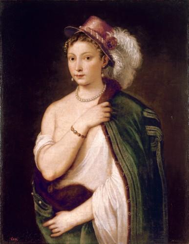 ティツィアーノ・ヴェチェッリオ《羽飾りのある帽子をかぶった若い女性の肖像》1538年(C)The State Hermitage Museum,St Petersburg,2017-18