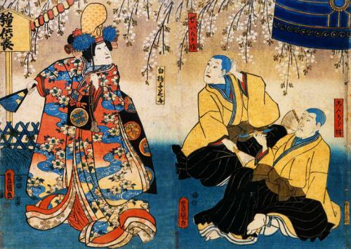 Kyō-ganoko Musume Dōjō-ji (April 1852 Edo Ichimura-za).jpg