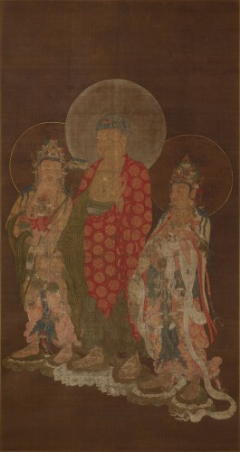 堺市指定文化財 阿弥陀三尊像 1幅 絹本着色 朝鮮・高麗時代 13‐14世紀 大阪・法道寺蔵