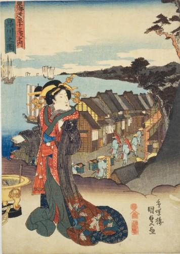 東海道五十三次之内 品川之図(国立国会図書館蔵) 品川宿の遊女は名目上は旅籠の配ぜん係=飯盛り女。吉原の花魁にくらべると衣装の豪華さは劣りますが、人気は同じくらいありました。