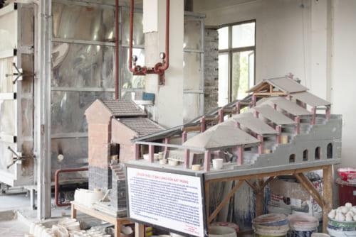 登り窯の模型。日本とそっくりのスタイルに驚く。