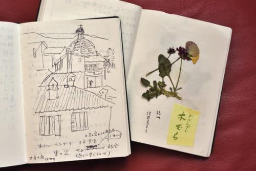 文庫本ほどの大きさで、特注の黒革の手帳に思いついたアイディアや旅の記録等を書き留める。時にスケッチや押し花も。