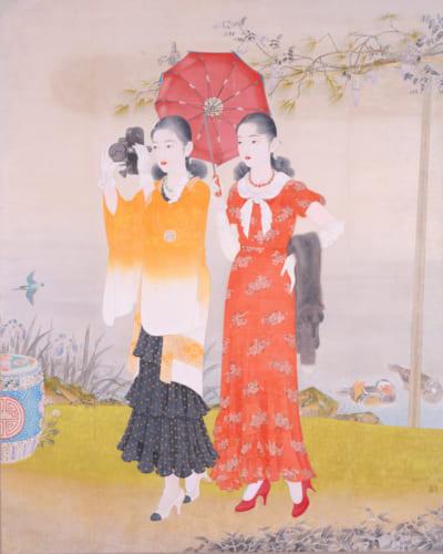 榎本千花俊《池畔春興》1932(昭和7)年 島根県立石見美術館蔵 ※展示期間12月8日