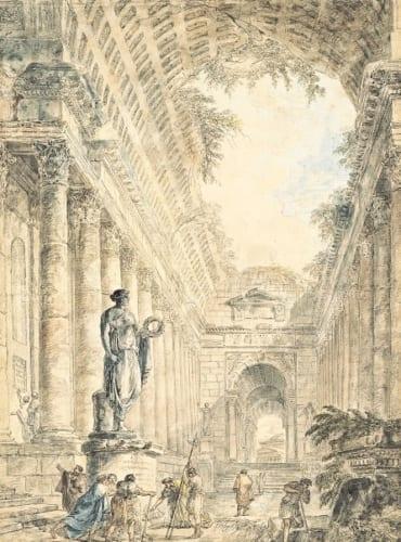 ユベール・ロベール 《ローマのパンテオンのある建築的奇想画》 1763年 ペン・水彩、紙 ヤマザキマザック美術館