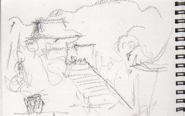 鶴岡八幡宮のスケッチ(「鶴岡八幡宮」完成画は「サライ」1月号に掲載されています)