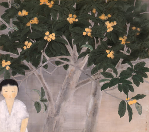 奥村土牛《枇杷と少女》1930(昭和5)年 絹本・彩色 山種美術館蔵