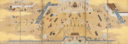 霊元天皇即位・後西天皇譲位図屏風(右隻) 狩野永納筆