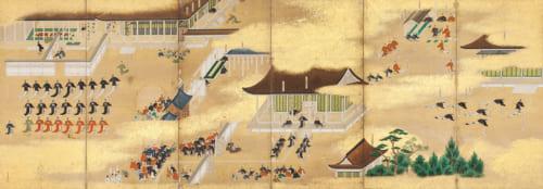 霊元天皇即位・後西天皇譲位図屏風(左隻) 狩野永納筆