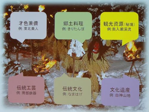 吉田氏は、自身が都会や海外に出てから感じた、東北の強みといえる文化として「才色兼備」「郷土料理」「観光資源」「伝統工芸」「伝統文化」「文化遺産」というキーワードを挙げた。