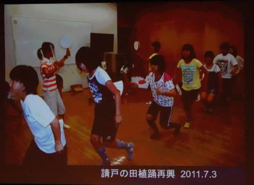 浪江町に300年以上前から伝わるとされる請戸の田植踊の再興(2011年7月3日)