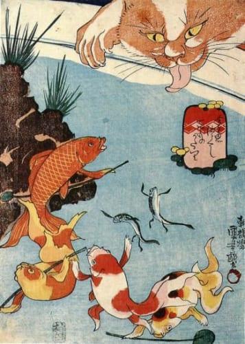 歌川国芳の金魚図では金魚が擬人化されている