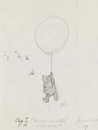 「ハチのやつ、なにか、うたぐってるようですよ」『クマのプーさん』第1章、E.H.シェパード、鉛筆画、1926年、V&A所蔵 (C)The Shepard Trust