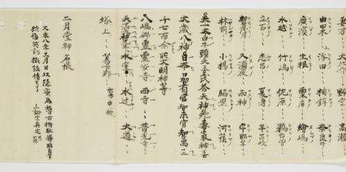 重要文化財 二月堂神名帳(部分) 奈良・東大寺蔵