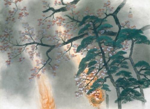 横山大観《夜桜》昭和22年(1947)足立美術館蔵