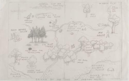百町森の地図、『クマのプーさん』見返し用のスケッチ、E.H.シェパード、鉛筆画、1926年、V&A所蔵 (C)The Shepard Trust. Image coutesy of the Victoria and Albert Museum,London
