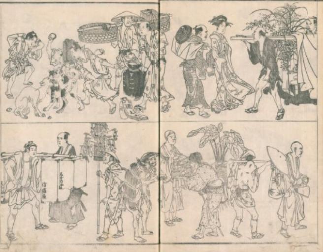 四時交加二巻(国立国会図書館アーカイブズ)でも、左上に里犬が描かれている