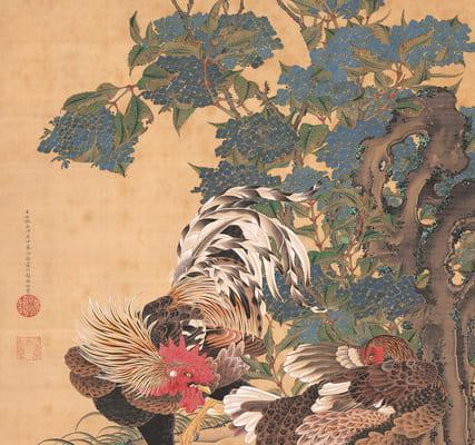 伊藤若冲 《紫陽花双鶏図》 絹本着色 一幅 139.4×85.1cm 米国・エツコ&ジョー・プライスコレクション