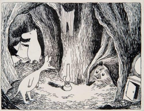 トーベ・ヤンソン《「ムーミン谷の彗星」挿絵》1946年、1968年(改作)ムーミン美術館蔵