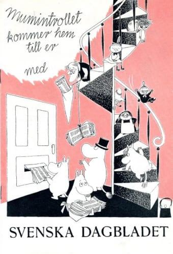 トーベ・ヤンソン《スウェーデンの日刊紙「スヴェンスカ・ダーグブラーデット」広告》1957年 ムーミンキャラクターズ社蔵