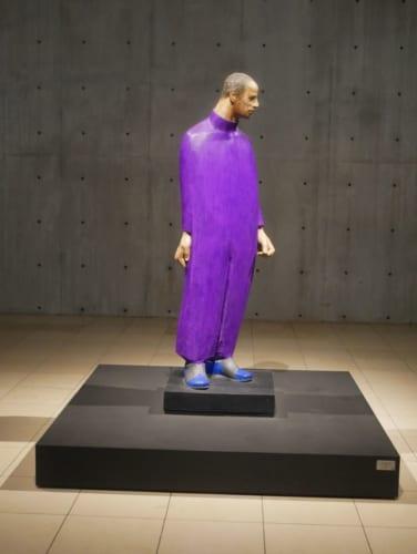 展示棟にある「紫の服の男」。頭部にクルミの木、胴体にはシナノキが使われ、顔には金属の粒が埋めこまれています。様々な素材を使いこなし、まとめあげたヴァンジの真骨頂が発揮された作品です。