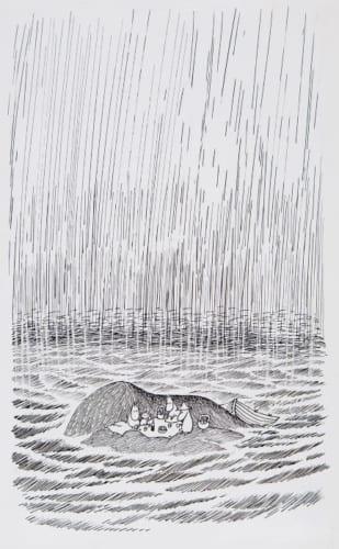 トーベ・ヤンソン《「ムーミンパパ海へいく」挿絵》1965年 ムーミン美術館蔵