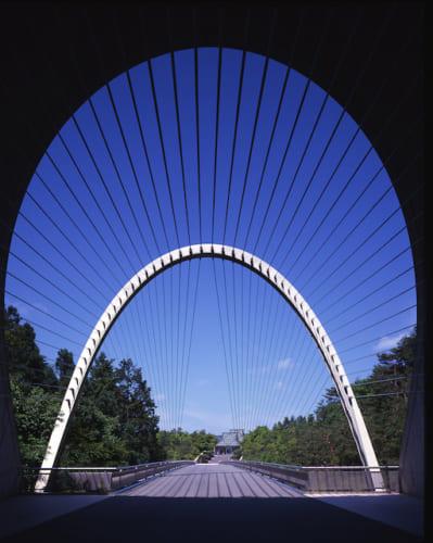 美術館棟の手前には吊り橋が優美な曲線を描いています。