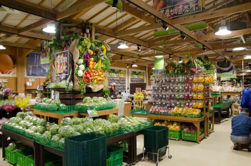 新鮮な野菜、果物が並ぶ